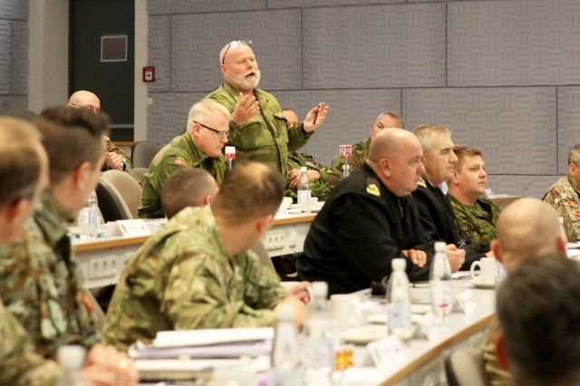 A senior military leader from Norway addresses the group during the first ever 7th Army Training Command's Conference of European Training Centers at the Joint Multinational Readiness Center, Hohenfels, Germany, Feb. 15, 2018. The three-day conference consisted of approximately 65 senior military leaders from 27 NATO and Partner Nation countries.