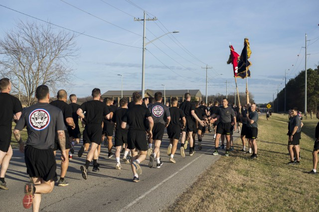 Following the attachment of an Iraq campaign streamer to the unit guidon Feb. 20, Soldiers assigned to 2nd Brigade Combat Team, 101st Airborne Division (Air Assault) celebrate with a brigade run at Fort Campbell, Kentucky.  The streamer was awarded to the unit for their contribution to Operation Inherent Resolve during their May 2016-January 2017 deployment to Iraq.  The brigade's primary mission was to advise and assist, train and equip the Iraqi security forces to fight and defeat the Islamic State of Iraq.