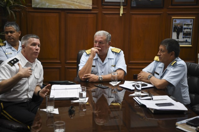 West Virginia National Guard Adjutant General, Maj. Gen. James A. Hoyer, talks with Lt. Gen. Raul Hoyos de Vinatea, Commanding General of Operations for the Peruvian Air Force, and other leaders from the Peruvian Air Force Jan. 31, 2018 during a key leader engagement for the State Partnership Program held in Lima, Peru. The WVNG and Peruvian leaders discussed future endeavors and opportunities for engagement as a part of the National Guard Bureau State Partnership Program.