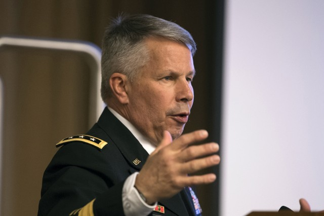 Lt. Gen Todd T. Semonite, chief of engineers and commanding general of U.S. Army Corps of Engineers, speaks during a 2018 Engineers Week event at the Pentagon in Washington, D.C. Feb. 21, 2018.