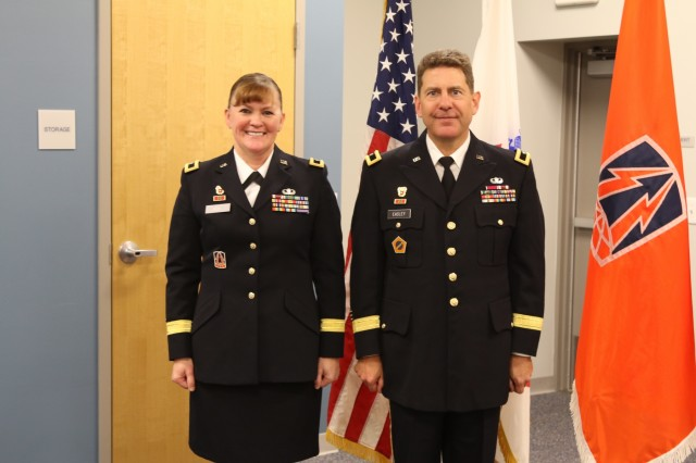 Army Reserve Brig. Gen. Matthew Easley, deputy commanding general of sustainment, 335th Signal Command (Theater) poses with Brig. Gen. Nikki Griffin-Olive, during his promotion ceremony at the Colorado State Patrol Training Academy, Golden, Colorado Jan. 6, 2018. Easley, a native of Littleton, Colorado has held numerous leadership positions throughout his nearly 30-year career including command of the 505th Theater Tactical Signal Brigade in Las Vegas, Nevada. (U.S. Army Reserve photo by Capt. David Gasperson)