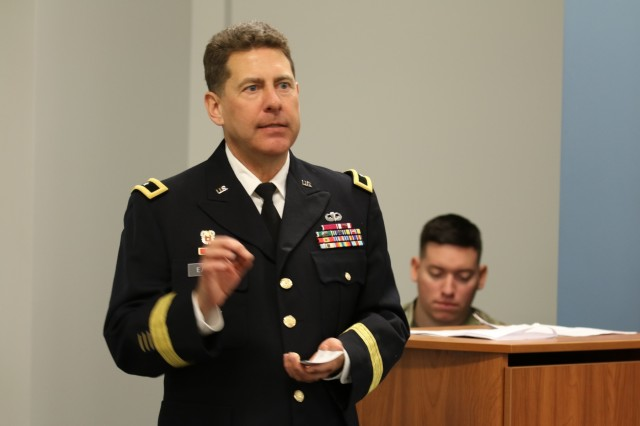 Army Reserve Brig. Gen. Matthew Easley, deputy commanding general of sustainment, 335th Signal Command (Theater) speaks to a crowd of friends and family during his promotion ceremony at the Colorado State Patrol Training Academy, Golden, Colorado Jan. 6, 2018. Easley, a native of Littleton, Colorado has held numerous leadership positions throughout his nearly 30-year career including command of the 505th Theater Tactical Signal Brigade in Las Vegas, Nevada. (U.S. Army Reserve photo by Capt. David Gasperson)