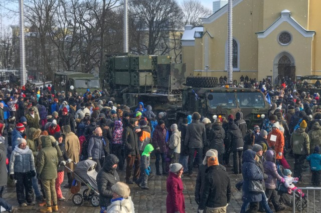Soldiers of Charlie Battery, 5th Battalion, 7th Air Defense Artillery, 10th Army Air and Missile Defense conduct a static display open to the public at Freedom Square, Tallinn, Estonia after the military parade concluded celebrating Estonia centennial celebration Feb. 24, 2018. The Patriot battery was invited to Estonia to participate and celebrate Estonia's 100th year anniversary.