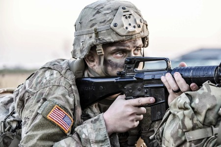 Soldiers of the 173rd Airborne Brigade conduct a tactical airfield seizure in Italy, Jan. 29, 2018, demonstrating that they are always lethal, agile and combat ready.