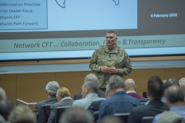 """MG Peter Gallagher, Director, Network Cross Functional Team, addresses an audience of more than 600 government and industry representatives during the Network CFT Technical Exchange Forum #1, """"Operations in a Contested Environment,"""" which was held February 6-7, 2018 at Aberdeen Proving Ground, Maryland."""