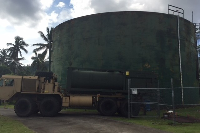 U.S. Army Soldiers transport thousands of gallons of water to reinforce a town's water supply following Tropical Storm Gita in American Samoa on February 16.