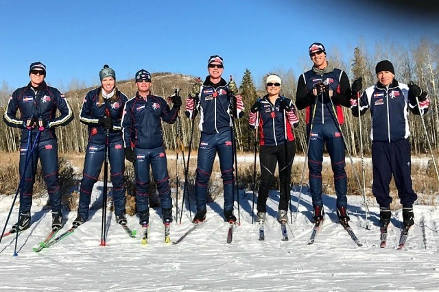 Members of the 2017 Colorado National Guard biathlon team pose for a photo during ski training at Snow Mountain Ranch in Granby, Colo., Dec. 15, 2017.