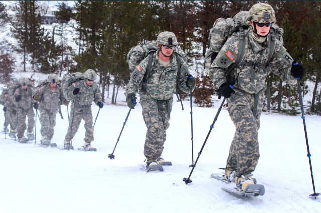 Soldiers participate in snowshoe-skills training as part of the Cold-Weather Operations Course at Fort McCoy, Wisconsin. Fort McCoy, a year-round Total Force Training Center, took silver in the 2018 Army Communities of Excellence competition.