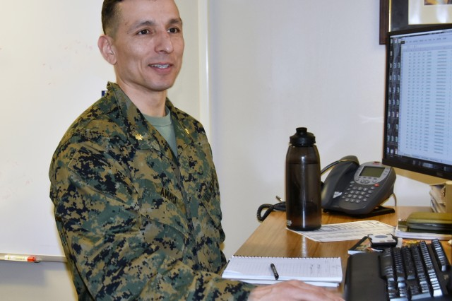 U.S. Marine Corps Major Francisco D. Amaya, program manager for ammunition at Joint Munitions Command, is the liaison officer who is working to meet the Marine Corps ammunition requirements.