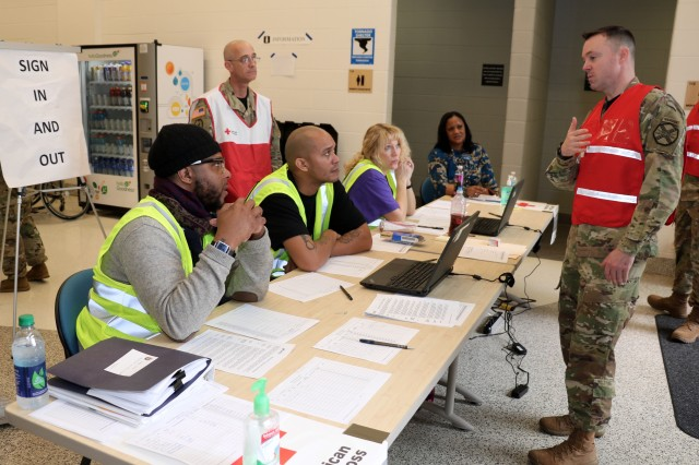 First Sgt. James Poston, from the 1st. Lt. J. Robert Kalsu Replacement Company at Fort Campbell, Kentucky, briefs the emergency shelter reception and registration team during the installation's emergency shelter exercise at Shaw Physical Fitness Facility, Feb. 21. Shaw is one of four designated locations on post that can quickly serve as an emergency shelter in the event a large number of Soldiers and families are displaced from their homes after a natural disaster or other emergency. Soldiers from Blanchfield Army Community Hospital's Environmental Health Section are responsible for monitoring living conditions at the shelter and a medical team is assigned to evaluate and treat acute medical needs and help evacuees obtain medication refills. U.S. Army photo by Maria Yager.