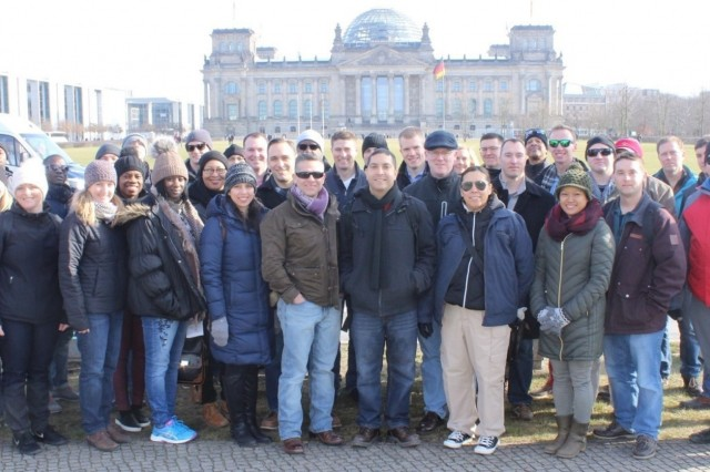 The Knight's Brigade poses in front of the Reichtag Feb. 22. The 16th Sustainment Brigade staff rode to Berlin, Feb. 20-23, and took part in guided tours, seminars, and visits to sites of the Battle of Berlin. The ride concluded with an outing to the U.S. Embassy.