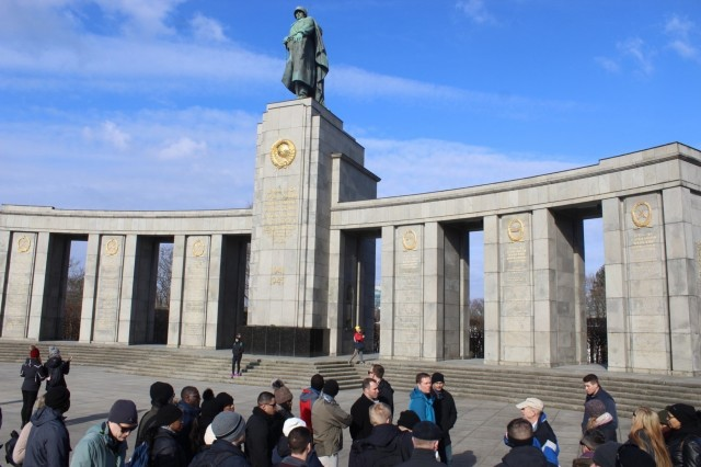 The Knight's Brigade receive a brief at the Soviet Union World War II Memorial, Feb. 22. The 16th Sustainment Brigade staff rode to Berlin February 20-23 and took part in guided tours, seminars, and visits to sites of the Battle of Berlin. The ride concluded with an outing to the American Embassy.