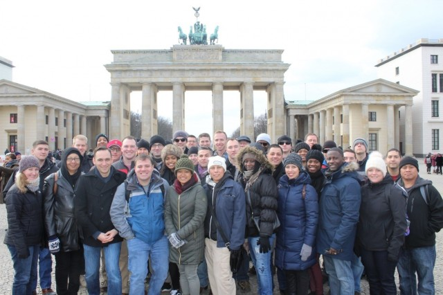 The Knight's Brigade receive a brief at the Soviet Union World War II Memorial, Feb. 22. The 16th Sustainment Brigade staff rode to Berlin, Feb. 20-23, and took part in guided tours, seminars, and visits to sites of the Battle of Berlin. The ride concluded with an outing to the U.S. Embassy.