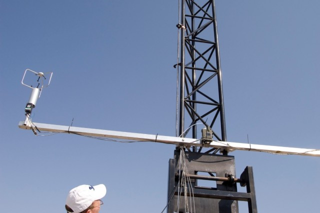 A trailer-mounted 10-meter tower, ready for instrumentation to receive data, at Dugway Proving Ground, Utah. The tower may also be folded down for travel or to affix instruments. Dugway is poised to take receipt of the new mobile, fast-data testing system for agent detectors from the Joint Project Executive Office for Chemical and Biological Defense. U.S. Army photo