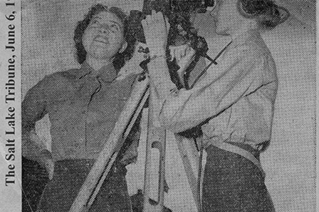 Dugway Proving Ground, Utah, was among the first Army posts in the nation to receive Women's Army Auxiliary Corps members during World War II. Ninety-two women arrived at Dugway on April 20, 1943 and replaced male Soldiers, sent on to combat units overseas. Pictured are WAACs Jeanne McArthur (left) and Evelyn Kroona, working for the meteorological section. Internet searches to learn their fate were unsuccessful. Presumably, Salt Lake Tribune photographer.