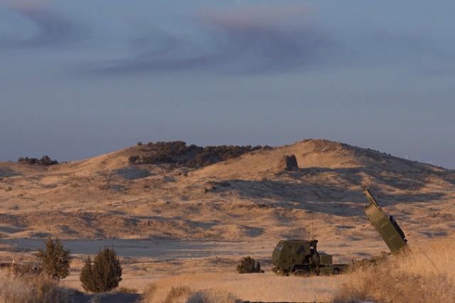 Marines have trained twice with the High Mobility Artillery Rocket System at U.S. Army Dugway Proving Ground, Utah. The system fires from one to six GPS-guided rockets or one missile up to 180 miles. The next training is planned for March 2018. Photo by Al Vogel, Dugway Proving Ground Public Affairs.