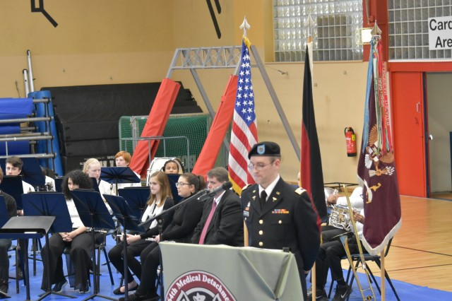 Cpt. Charles Schwarten, the master of ceremonies for 64th Medical Detachment's award ceremony, led his team through hundreds of hours of research.