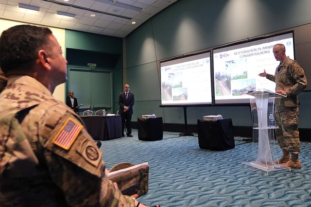 Task Force Power Restoration Commander, Col Jason Kirk and Puerto Rico Electric Power Authority Acting Executive Director Justo Gonzalez delivered a presentation updating the current status and outlined the path forward for power grid restoration to Governor Ricardo Rossello and mayors from across the island Feb.,28, 2018, at the San Juan Convention Center, San Juan, Puerto Rico. USACE continues to work in a unified effort with the PREPA, FEMA and industry partners to help people of Puerto Rico recover from this unprecedented disaster.