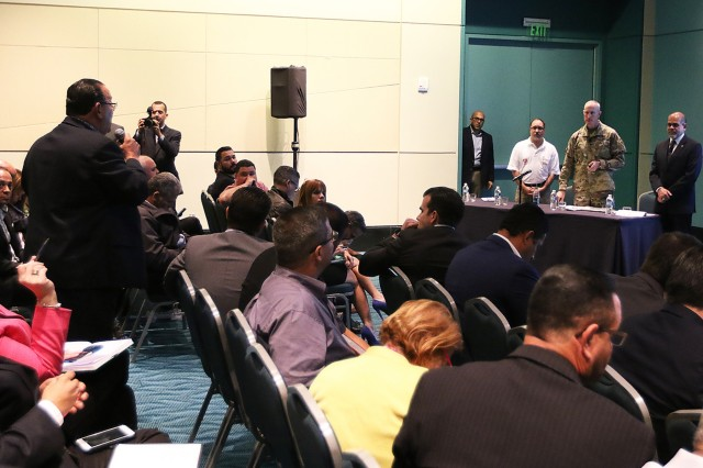 Task Force Power Restoration Commander, Col Jason Kirk and Puerto Rico Electric Power Authority Acting Executive Director Justo Gonzalez delivered a presentation updating the current status and outlined the path forward for power grid restoration to Governor Ricardo Rossello and mayors from across the island Feb.,28, 2018, at the San Juan Convention Center, San Juan, Puerto Rico. USACE continues to work in a unified effort with the Puerto Rico Power Authority, FEMA and industry partners to help people of Puerto Rico recover from this unprecedented disaster.