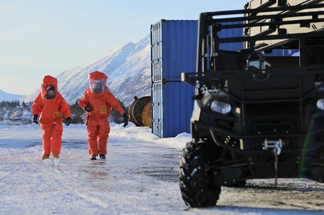 Members of the decontamination team assigned to the 103rd Civil Support Team, Alaska Army National Guard, prepare to conduct radiological reconnaissance during exercise Arctic Eagle in Valdez, Alaska, Feb. 23, 2018. The goals of AE18 are for participating forces to operate in a joint, interagency, intergovernmental and multinational environment; assess ability to conduct sustained operations in arctic conditions and integrate new and emerging capabilities.