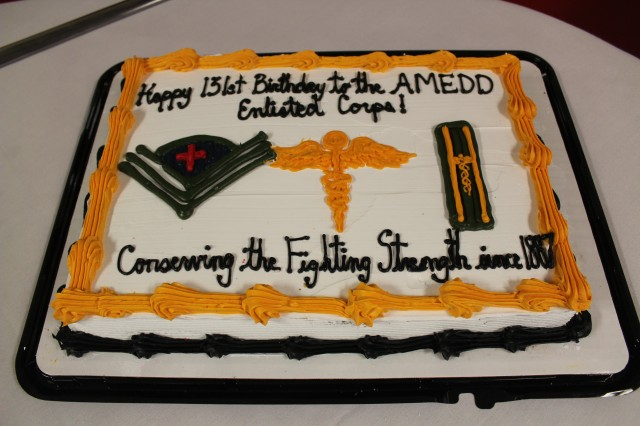 A close up of the cake recognizing the 131st anniversary of the U.S. Army Medical Department (AMEDD) Enlisted Medical Corps. — at Keller Army Community Hospital.