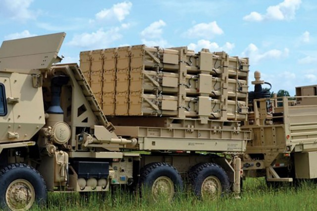 The Multi-Mission Launcher or MML is mounted on the bed of a medium tactical vehicle as part of the Indirect Fire Protection Capability, or IFPC demonstrator.