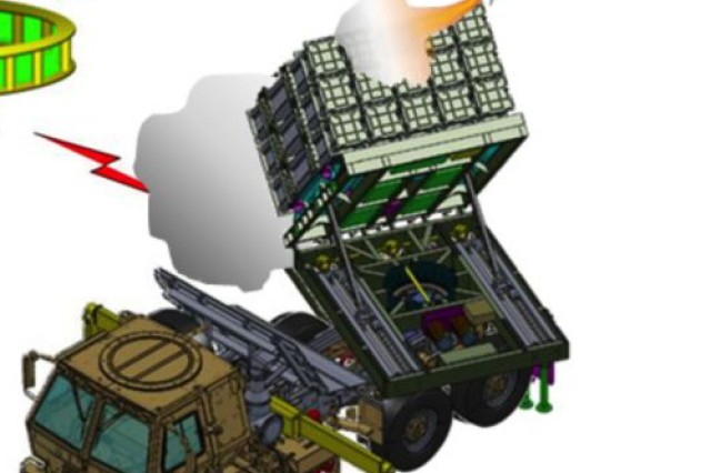 An artist's rendering of the Multi Mission Launcher of the Indirect Fire Protection Capability Increment 2 -Intercept, or IFPC Increment 2-I, firing an interceptor missile.