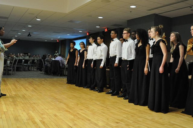 Members of the Waynesville High School choir perform at the installation's Black History Month Observance Friday at Pershing Community Center.