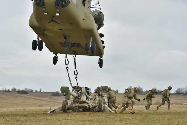 U.S. Soldiers, assigned to Cobra Battery, Field Artillery Squadron, 2nd Cavalry Regiment, conduct Sling Load Operations with support from the 12th Combat Aviation Brigade during Exercise Dynamic Front 17 at the 7th Army Training Command's Grafenwoehr Training Area, Germany, March 9, 2017. Range Operations at 7ATC's GTA coordinates infantry, engineer, armor and aviation activities during exercises like Dynamic Front 18.