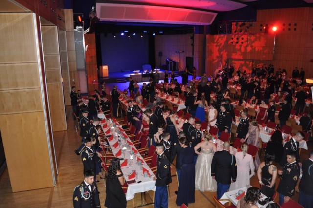 The 1st Squadron, 2d Cavalry Regiment hosts the War Eagle ball at the Amberg Congress Centrum, Germany, Feb. 15, 2018. The War Eagles were joined by international Allies from the countries of the Czech Republic, United Kingdom and Germany.