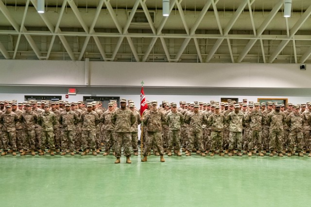 The 509th Clearance Company stands ready to case the unit's colors in preparation for deployment to Afghanistan in support of Operation Freedom's Sentinel during a ceremony held Feb. 21 in Nutter Field House.