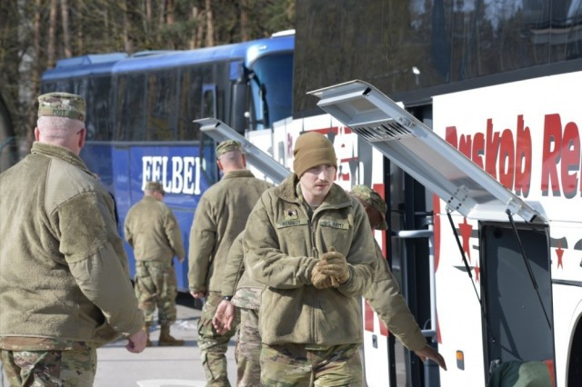 ANSBACH, Germany --Members of the 678th Air Defense Battalion, South Carolina Army National Guard, headquartered in Eastover, South Carolina were welcomed to the U.S. Army Garrison Ansbach (USAG Ansbach), by Col. Benjamin Jones, Garrison commander, accompanied by Command Sgt. Maj. Philson Tavernier, March 1, 2018 in the garrison's Von Steuben Community Center on Bismark Kaserne. U.S. Army photo by Charles Rosemond (RELEASED).