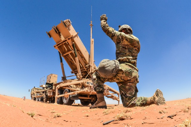 Soldiers from the 3-43 Air Defense Artillery Battalion participate in Exercise Roving Sands, February 2018.