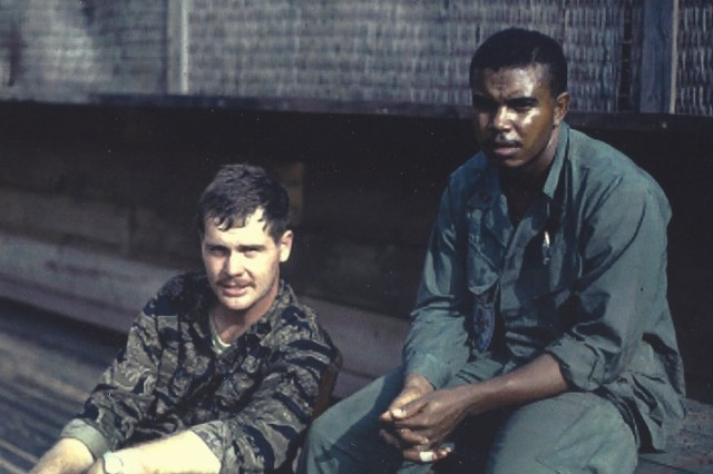 Coverley with his friend, Ghronke, in Vietnam, 1968.