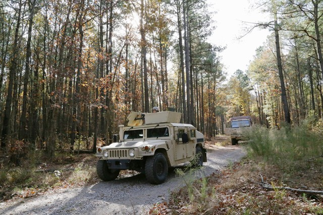 Quartermaster Basic Officer Leader Course students conduct a convoy during their final field training exercise on Nov. 21, 2017, at Fort Lee, Va.
