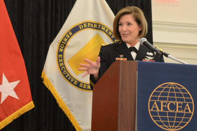 Lt. Gen. Laura Richardson, deputy commander, U.S. Army Forces Command, speaks at the AFCEA Army Signal Conference in Springfield, Va., March 6, 2018.