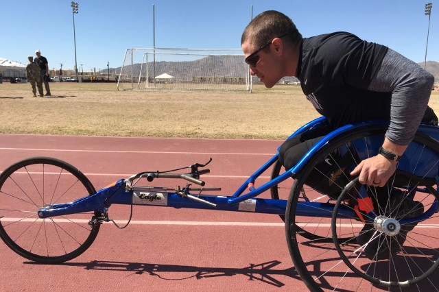 Sgt. Jonathan Weasner prepares for the 100 meter wheelchair race at Stout Track, Fort Bliss, Texas.  74 wounded, ill, and injured athletes at Fort Bliss, Texas will participate in the 2018 Army Trials March 3-8.  These Soldiers and veterans will compete in 10 events with hopes of earning a spot on Team Army for the 2018 Department of Defense Warrior Games, June 2-9 in Colorado Springs, Colorado.