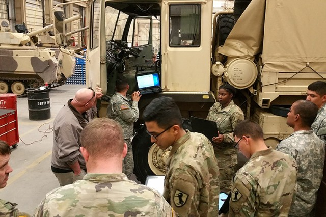 Soldiers from the 11th Armored Cavalry Regiment at Fort Irwin, Calif., receive new equipment training on Maintenance Support Device version 4 prototypes in January 2017.