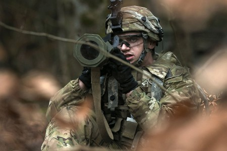 A military policeman with the 89th Military Police Brigade, aims an AT-4 anti-armor weapon at opposing force track vehicles, Jan. 29, 2018, during Allied Spirit VIII at Hohenfels Training Area, Germany. Roughly 4,100 troops from 10 nations are participating in Allied Spirit VIII, a multinational training exercise designed to test participants' readiness and capabilities.