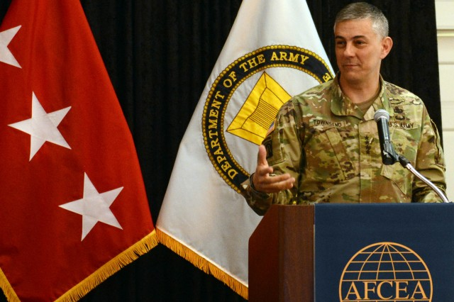 Gen. Stephen J. Townsend, commander of U.S. Army Training and Doctrine Command, speaks at the AFCEA Army Signal Conference, March 8, 2018.