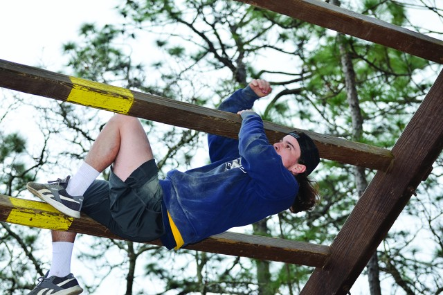 Coker College student athletes go through some of the obstacles on the Fort Jackson Confidence Course March 7.