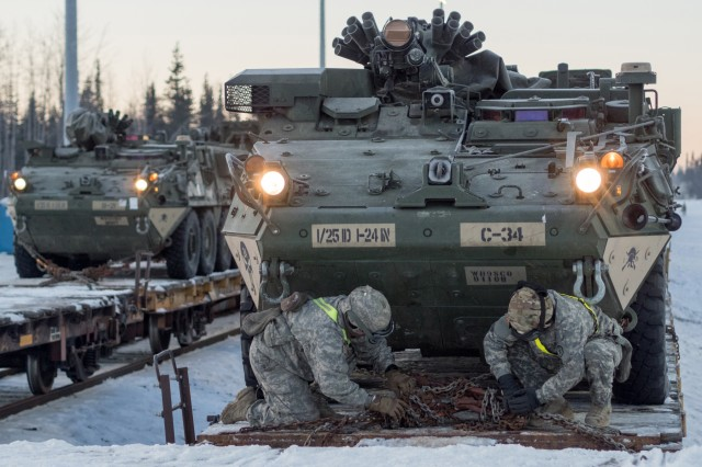 Soldiers assigned to the 1st Stryker Brigade Combat Team, 25th Infantry Division, U.S. Army Alaska, perform railhead operations in sub-zero temperatures on Joint Base Elmendorf-Richardson, Alaska, Jan. 30, 2018. The Fort Wainwright-based Soldiers are off-loading their vehicles and equipment as part of Arctic Thrust, a short-notice rapid deployment exercise.