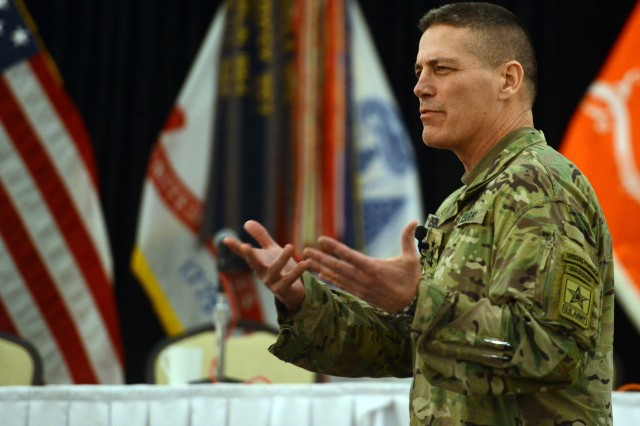 Lt. Gen. Paul Ostrowski, director of the Army Acquisition Corps, speaks at the AFCEA Army Signal Conference, March 7.