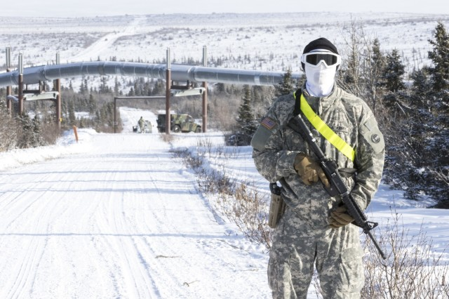 Spc. Roberto Terrazas, of the 220th Military Police Company, out of Colorado, maintains a checkpoint during Arctic Eagle 2018 at the Donnelly Training Area outside of Fort Greely, Alaska Feb. 28, 2018. The National Guard, in partnership with active duty forces, local, state and federal agencies, can provide capabilities for homeland security and emergency response in the extreme cold-weather conditions of the Arctic region.