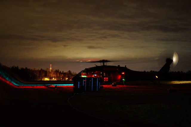 An HH-60 Blackhawk helicopter crew with Company C, 2nd General Support Aviation Battalion, 227th Aviation Regiment, 1st Combat Aviation Brigade, 1st Cavalry Division, fuels up at an airfield just outside of Grafenwoehr, Germany during training Mar. 7, 2018. Troopers of the brigade are providing aviation support during Dynamic Front 18, an annual U.S. Army Europe exercise focused on enhancing interoperability of U.S. Army, joint service and allied nation artillery and fire support in a multinational environment.