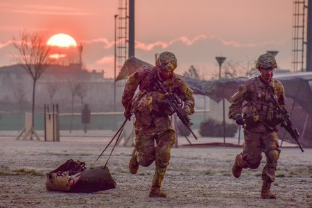 The final event of the Expert Infantryman Badge is 'Objective Bull'. This final test is to determine the warrior drive of Soldiers immediately following a week of testing that culminates with a 12-mile ruck march, Feb. 16, 2018. Paratroopers from the 173rd Airborne Brigade run through this final objective to earn their coveted EIB.
