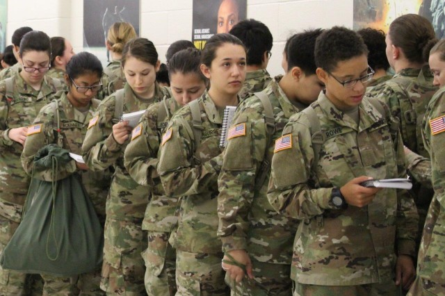 New trainees stand in line for their next appointment at Fort Leonard Wood's Reception Battalion.