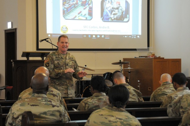 Sgt. 1st Class Andre Corbin, Logistics Training Department Credentialing non-commissioned officer-in-charge, discusses supply chain management credentialing opportunities available to 21st Theater Sustainment Command logisticians, March 6-7, at Daenner Kaserne chapel.