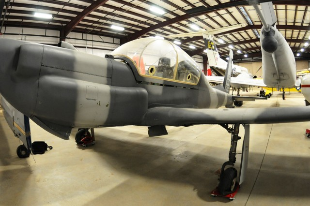 A YO-3A aircraft sits in the U.S. Army Aviation Museum's inventory in storage. The aircraft featured a 57-foot wingspan, and surveillance technology ahead of its time and still in use today.