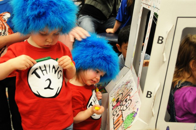 Piper and Ellis Tomaszewski, military family member, came dressed as Thing 1 and Thing 2 during the Seusstival celebration.